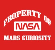 Property of NASA Mars Curiosity Rover Athletic Wear White ink Baby Tee