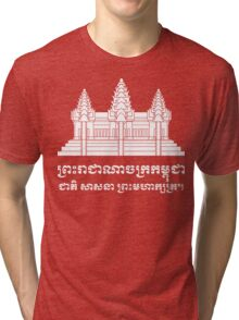 Angkor Wat / Khmer / Cambodian Flag with Motto Tri-blend T-Shirt