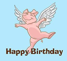Flying Pig Birthday Card by Lorna Mulligan