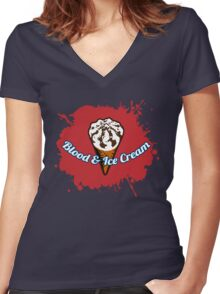 Blood & Ice Cream Women's Fitted V-Neck T-Shirt