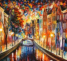 AMSTERDAM — NIGHT CANAL by Leonid  Afremov