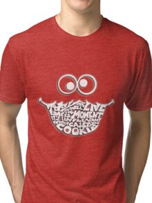 Cookie Monster Typography (white) Tri-blend T-Shirt
