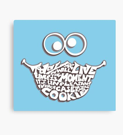 Cookie Monster Typography (white) Canvas Print