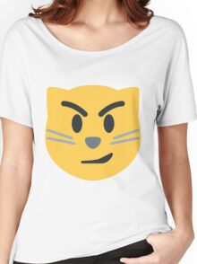 Cat face with wry smile emoji Women's Relaxed Fit T-Shirt