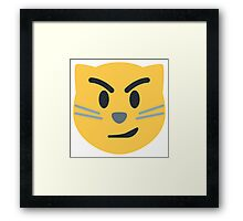 Cat face with wry smile emoji Framed Print