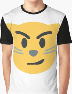 Cat face with wry smile emoji Graphic T-Shirt