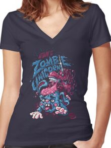 Zombie Unicorn Attacks Women's Fitted V-Neck T-Shirt