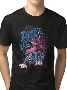 Zombie Unicorn Attacks Tri-blend T-Shirt