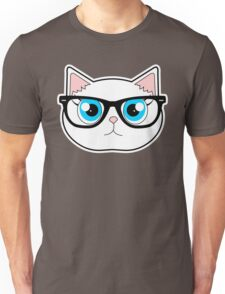 Hipster Cat with Glasses Unisex T-Shirt