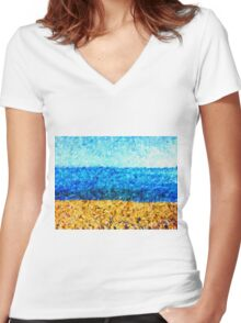 sea sky sand Women's Fitted V-Neck T-Shirt