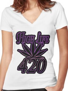 420 high life Women's Fitted V-Neck T-Shirt