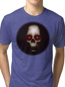 Evil skull with glowing red eyes Tri-blend T-Shirt