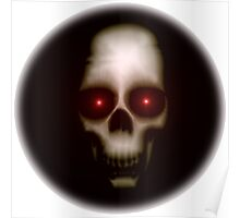 Evil skull with glowing red eyes Poster
