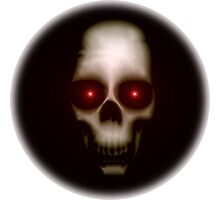 Evil skull with glowing red eyes Photographic Print