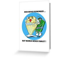 MEN FORGETFUL CARTOON QUOTE Greeting Card