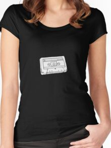 Hand Drawn Cassette Tape Analog Retro Old School  Women's Fitted Scoop T-Shirt