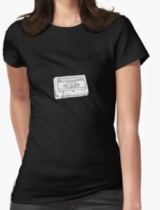 Hand Drawn Cassette Tape Analog Retro Old School  Womens Fitted T-Shirt