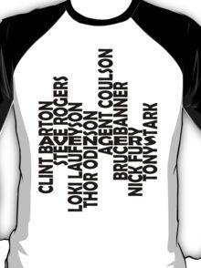 The men of the Avengers - black - larger text T-Shirt