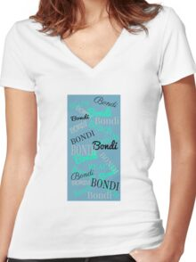 Bondi Beach! Beachy Blue Women's Fitted V-Neck T-Shirt