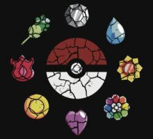 Cracked Pokeball and Badges Kanto version Kids Tee
