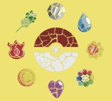 Cracked Pokeball and Badges Kanto version One Piece - Short Sleeve