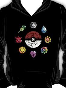 Cracked Pokeball and Badges Kanto version T-Shirt