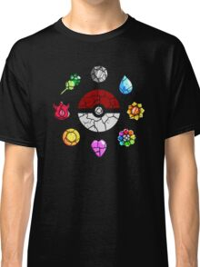 Cracked Pokeball and Badges Kanto version Classic T-Shirt