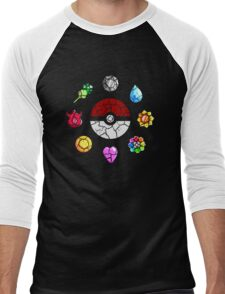 Cracked Pokeball and Badges Kanto version Men's Baseball ¾ T-Shirt