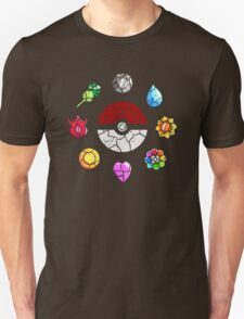 Cracked Pokeball and Badges Kanto version Unisex T-Shirt