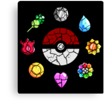 Cracked Pokeball and Badges Kanto version Canvas Print