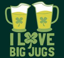 I love BIG JUGS green shamrocks St Patricks day beer jugs by jazzydevil