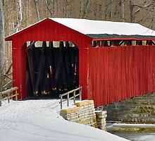 Cataract Covered Bridge and Snow by Kenneth Keifer