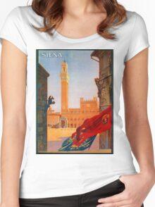 Vintage Siena Italian travel advertising Women's Fitted Scoop T-Shirt