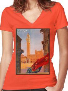 Vintage Siena Italian travel advertising Women's Fitted V-Neck T-Shirt