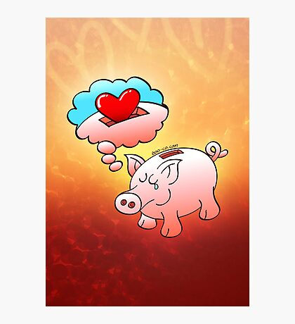Piggy Bank Daydreaming of Hearts instead of Coins Photographic Print
