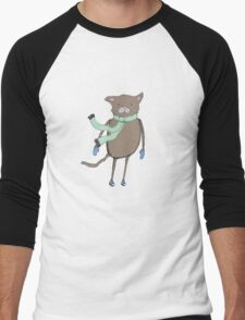 Winter Cat Drawing Men's Baseball ¾ T-Shirt