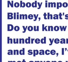 Nobody Important Dr. Who deisgn. Sticker