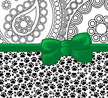 Dog Paws, Traces, Paisley -  Ribbon and Bow - White Black Green by sitnica
