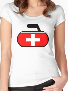 Switzerland Curling Women's Fitted Scoop T-Shirt