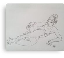 Drawing of a Girl in Green Stockings by Egon Schiele Canvas Print