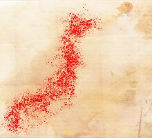 WATERCOLOR MAP of JAPAN by Daniel-Hagerman