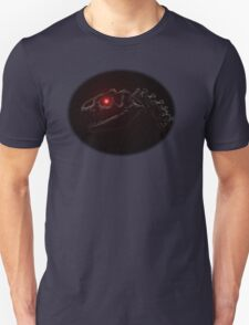 Dinosaur skull with glowing red eye Unisex T-Shirt