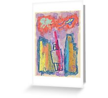 """""""Robot Conquers City"""" by Richard F. Yates Greeting Card"""