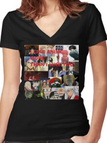 I LIKE ANIME MORE THAN I LIKE YOU Women's Fitted V-Neck T-Shirt