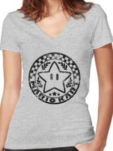 Mario Kart Emblem Women's Fitted V-Neck T-Shirt