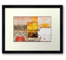 Old Metal Yellow Door on Scratched Wall Framed Print