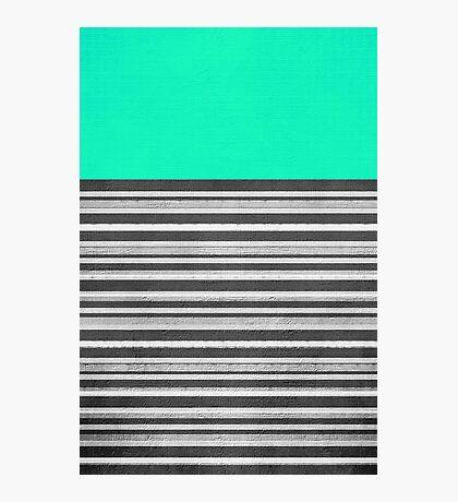 Mint Gray Stripes Photographic Print