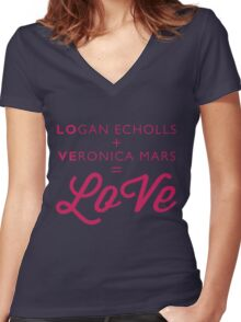 Logan + Veronica = LoVe Women's Fitted V-Neck T-Shirt