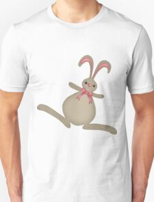 cute cartoon bunny rabbit with pink bow Unisex T-Shirt