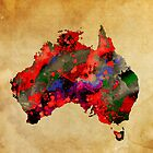 WATERCOLOR MAP of AUSTRALIA by Daniel-Hagerman